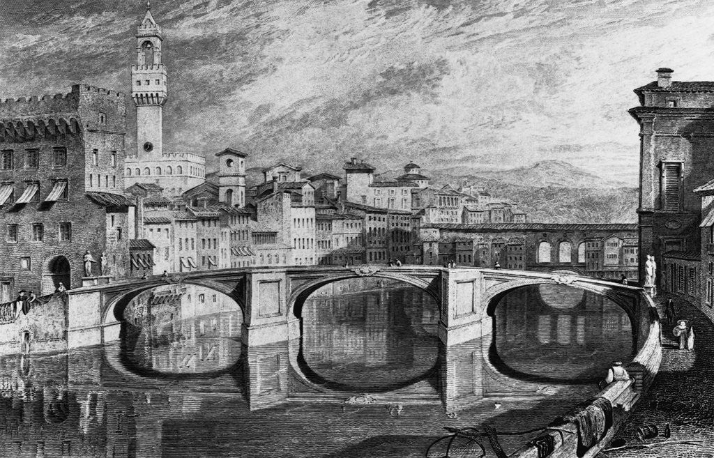 Detail of Florence, Italy: The Ponte Vecchio. Undated by J.M.W. Turner. R.A. from a finished sketch by James Iiakewill. Engraved by S. Rawle