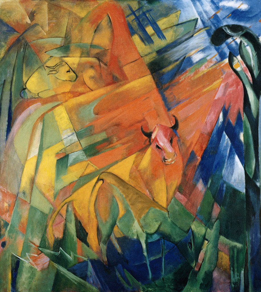 Detail of Animals in a Landscape by Franz Marc