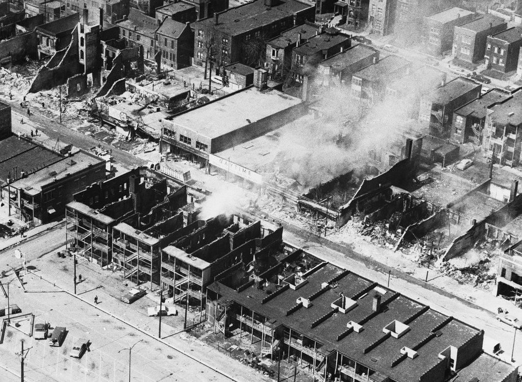 Detail of Burning Buildings on a Chicago Street by Corbis