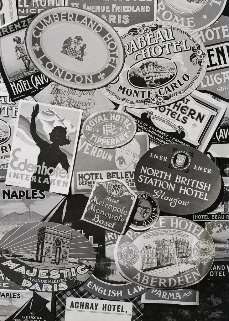 Detail of European Hotel Labels by Corbis
