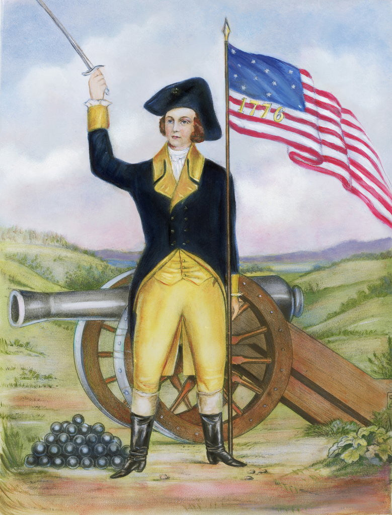 Detail of American Revolutionary Patriot at Post by Corbis