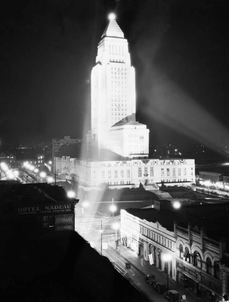 Detail of Aerial View Of City Hall At Night by Corbis