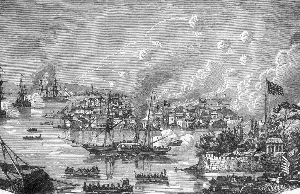 Detail of Engraving of the Bombardment of Canton by the English by Corbis