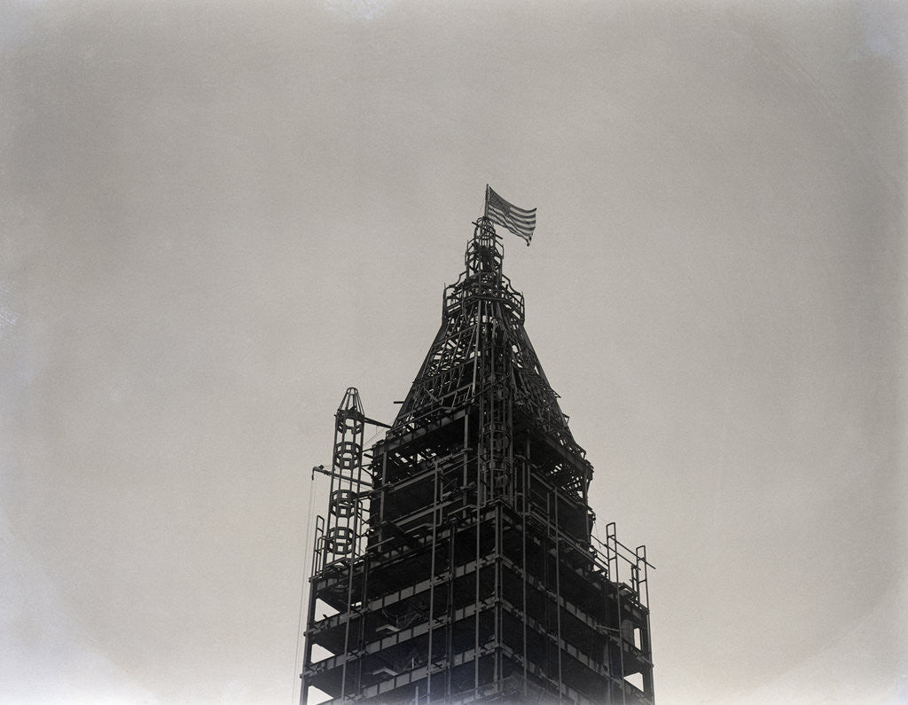 Detail of Flag On Top Of Woolworth Bldg. Iron Fram by Corbis