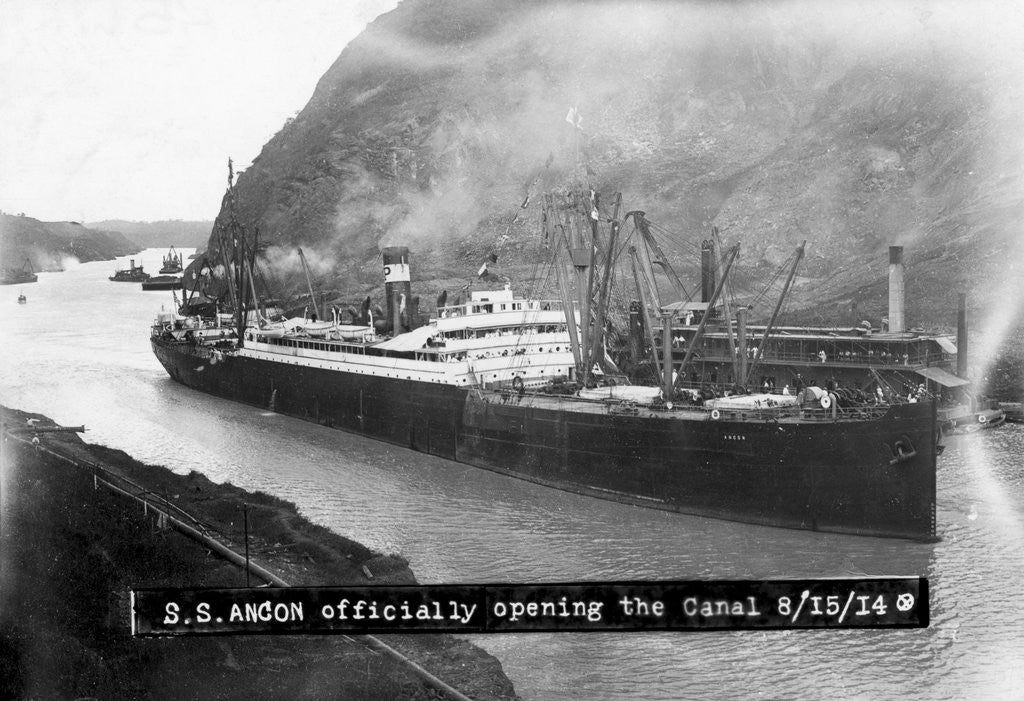Detail of SS Ancon at the Opening of The Panama Canal by Corbis