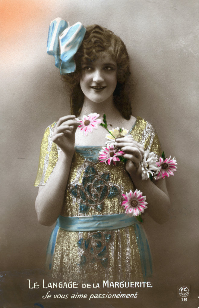 Detail of French Postcard of Woman Holding Flowers by Corbis