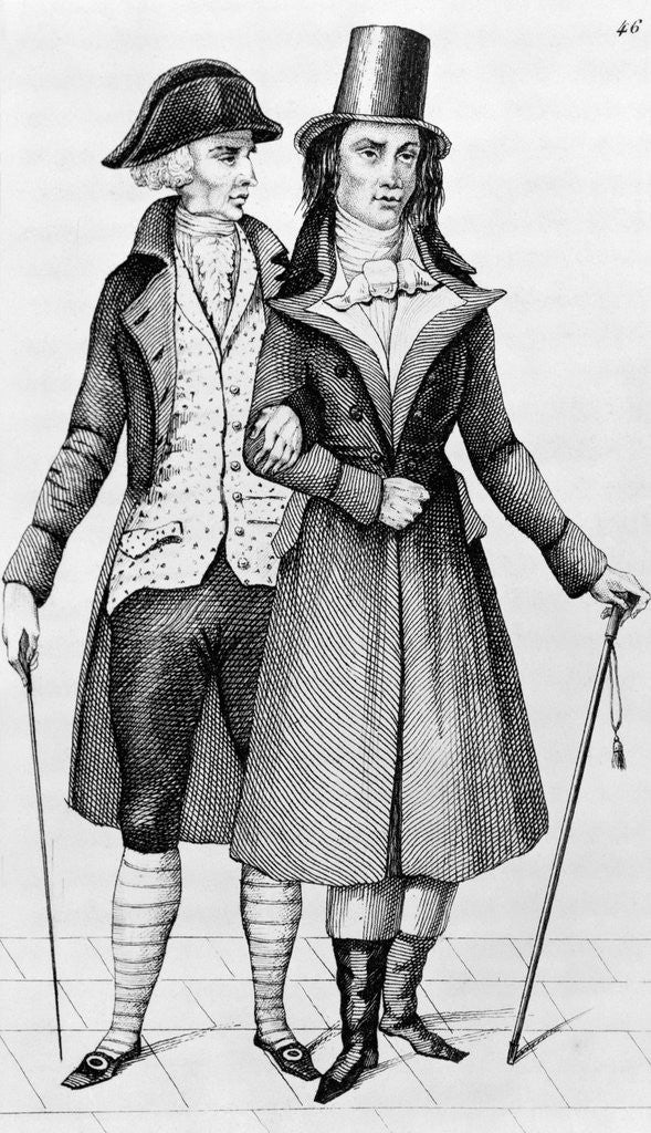 Detail of Engraving Of Two French Bourgeois by Corbis