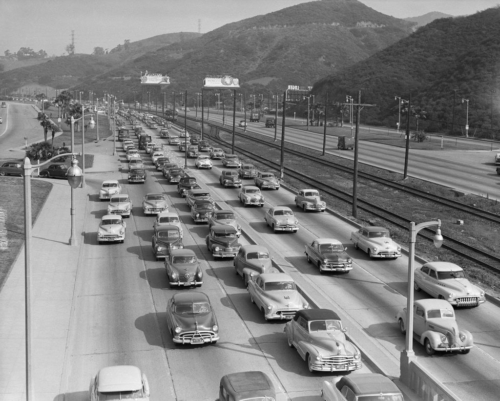 Detail of Traffic On Hollywood Freeway by Corbis