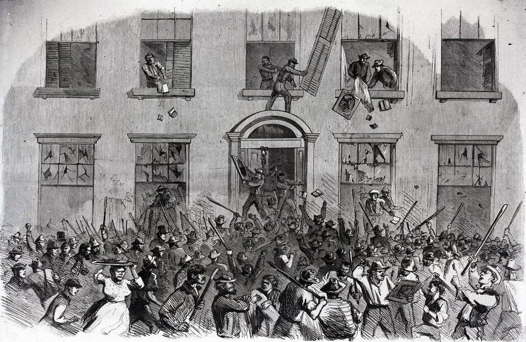 Detail of 19th-Century Print of Rioters Attacking Brownstones by Corbis