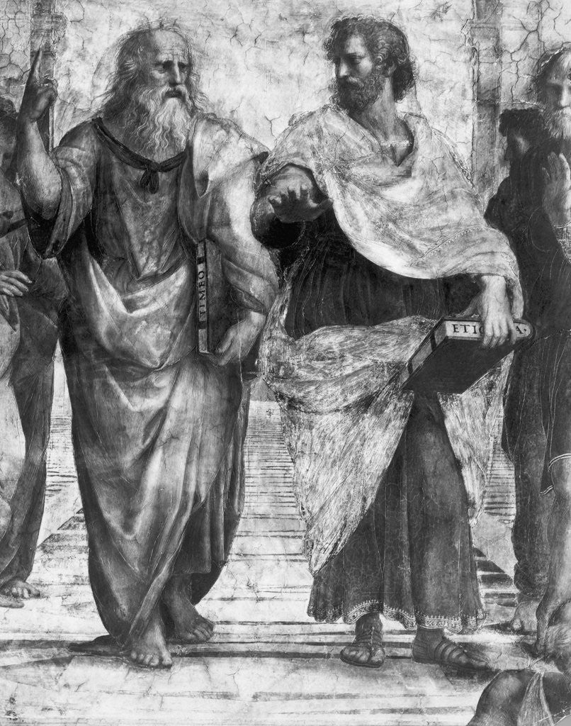 Detail of Detail Showing Plato and Aristotle from The School of Athens By Raphael by Corbis