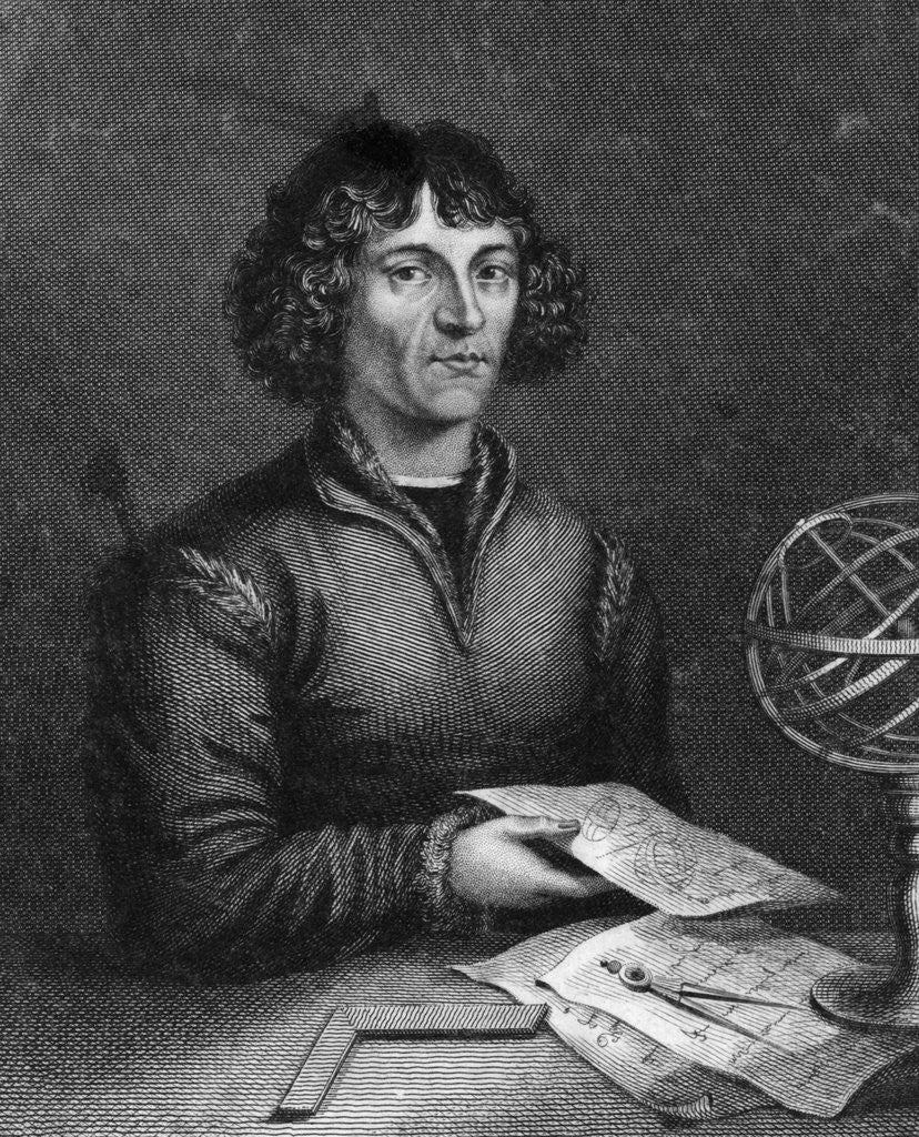 Detail of Engraving Of Copernicus Working by Corbis