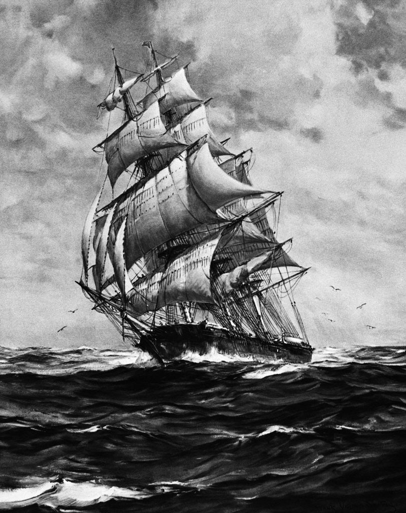 Detail of Clipper Ship Flying Cloud In Full Sail by Corbis