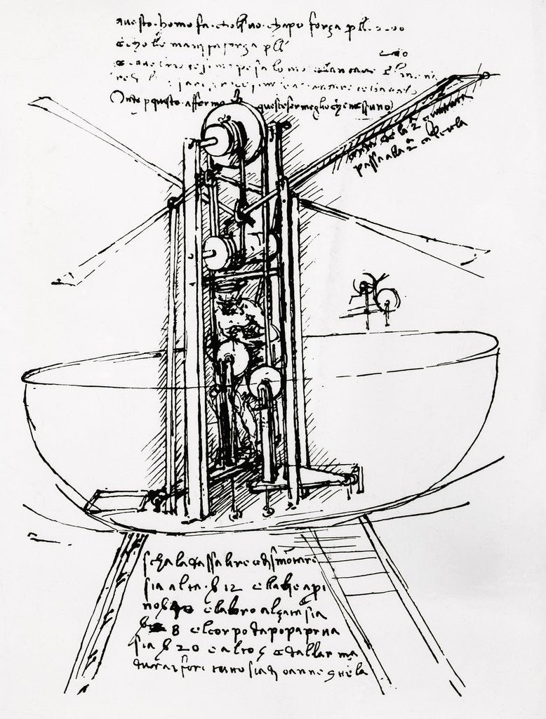 Detail of Drawing of a Manually Driven Flying Machine by Leonardo da Vinci