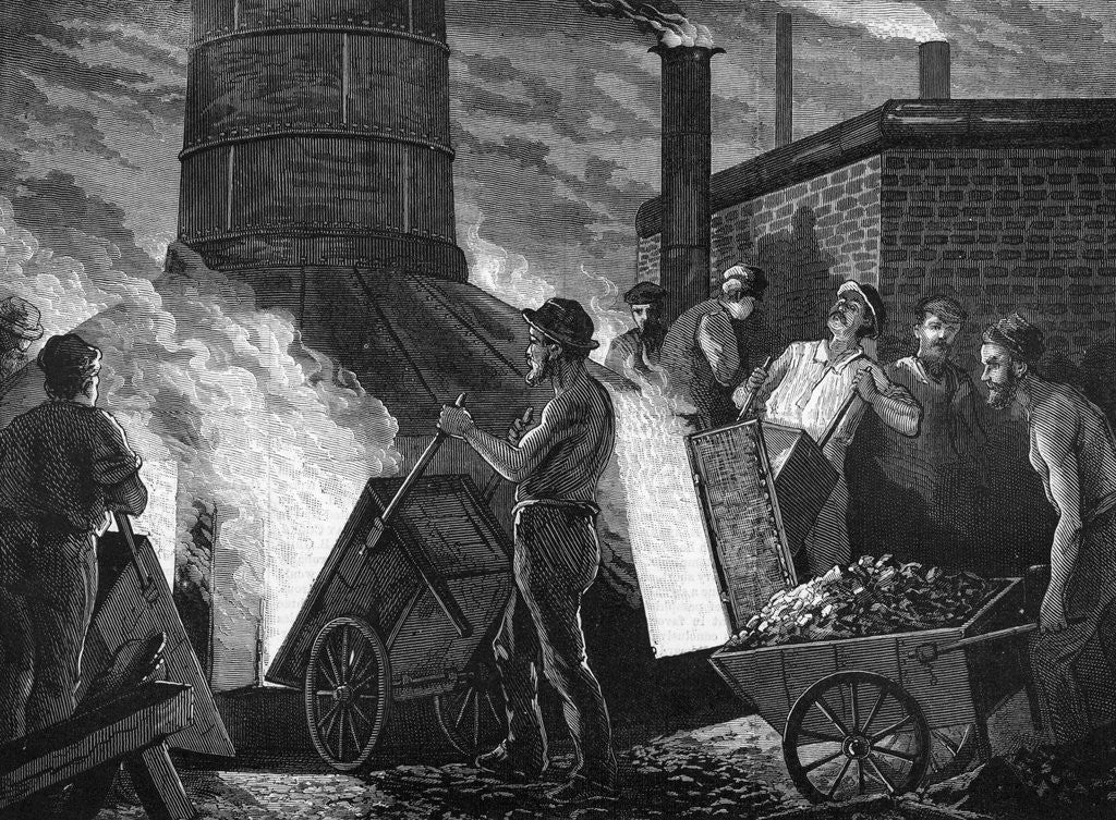Detail of Men Heaping Ore Into Furnace by Corbis