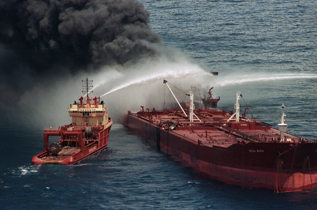 Detail of Boat Pours Water On Burning Oil Tanker by Corbis