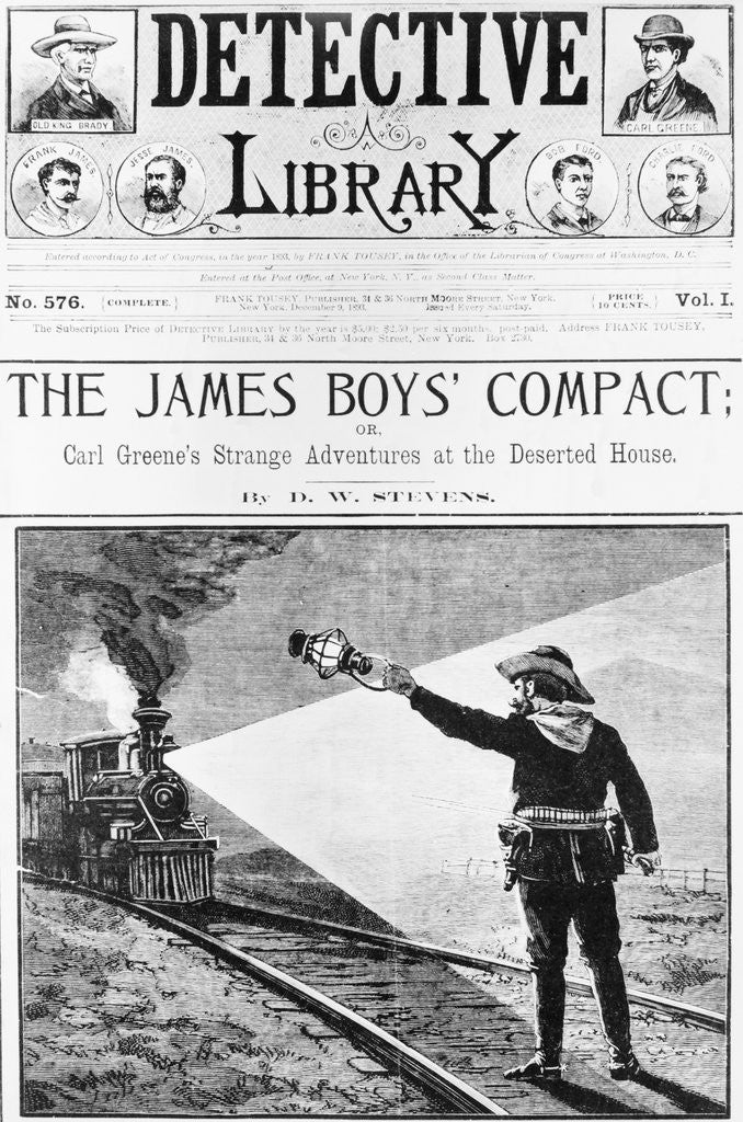 Detail of Woodcut, Jesse James Signals To Train by Corbis
