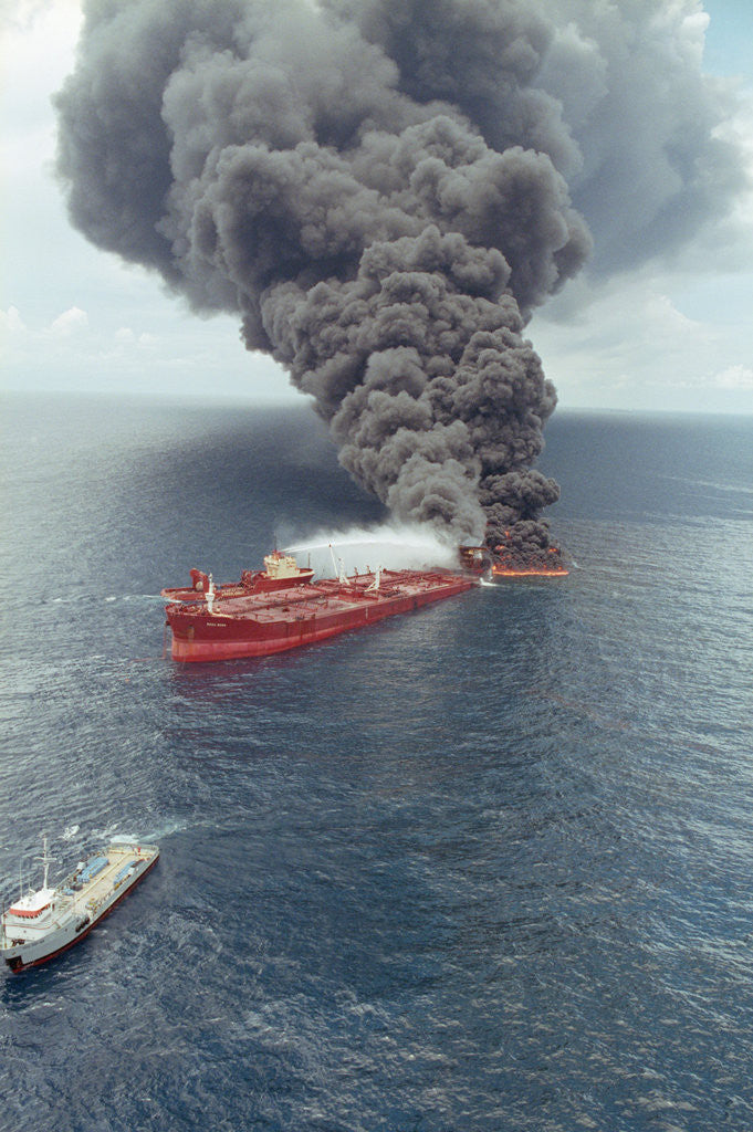 Detail of Dark Smoke Rising from Burning Mega Borg Oil Tanker by Corbis