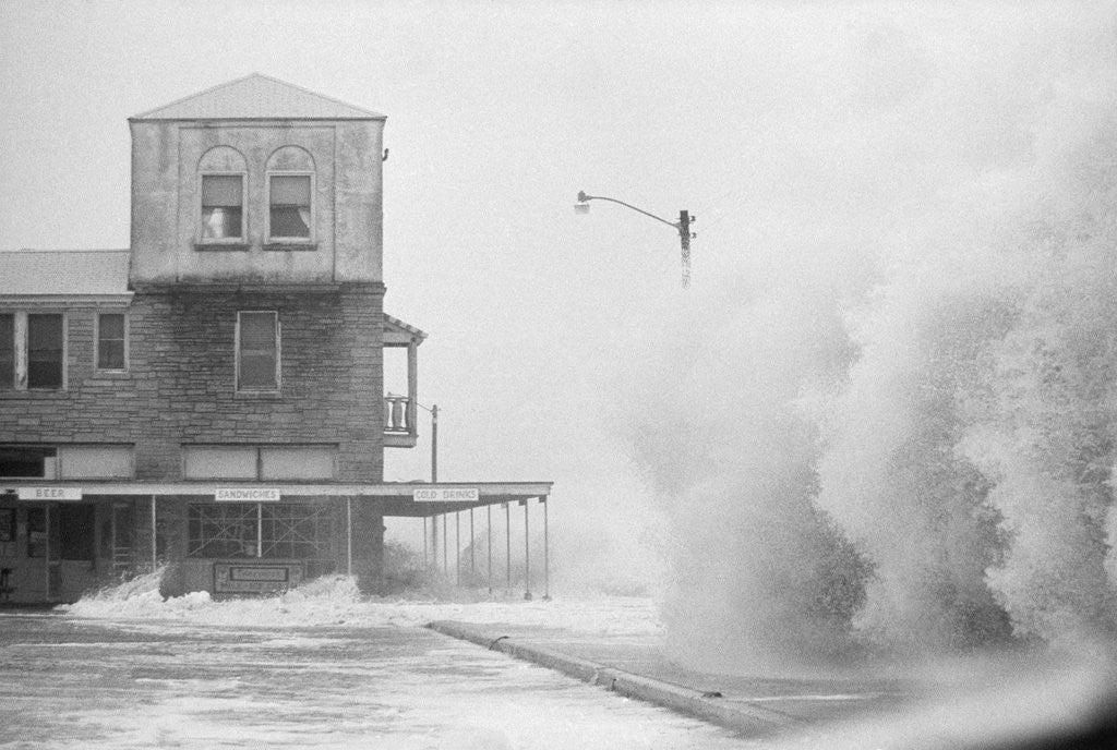 Detail of A Beachfront Hotel During Hurricane Dora by Corbis