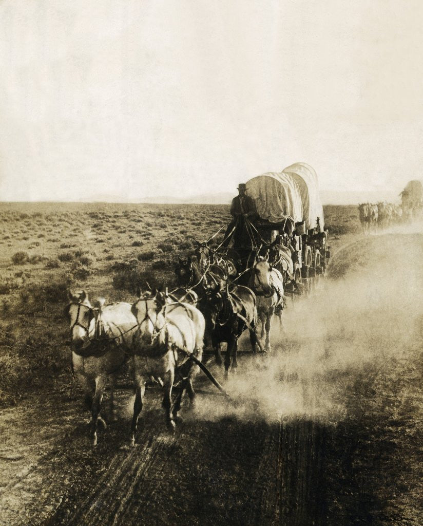 Detail of Covered Wagons on the Plains Going West by Corbis