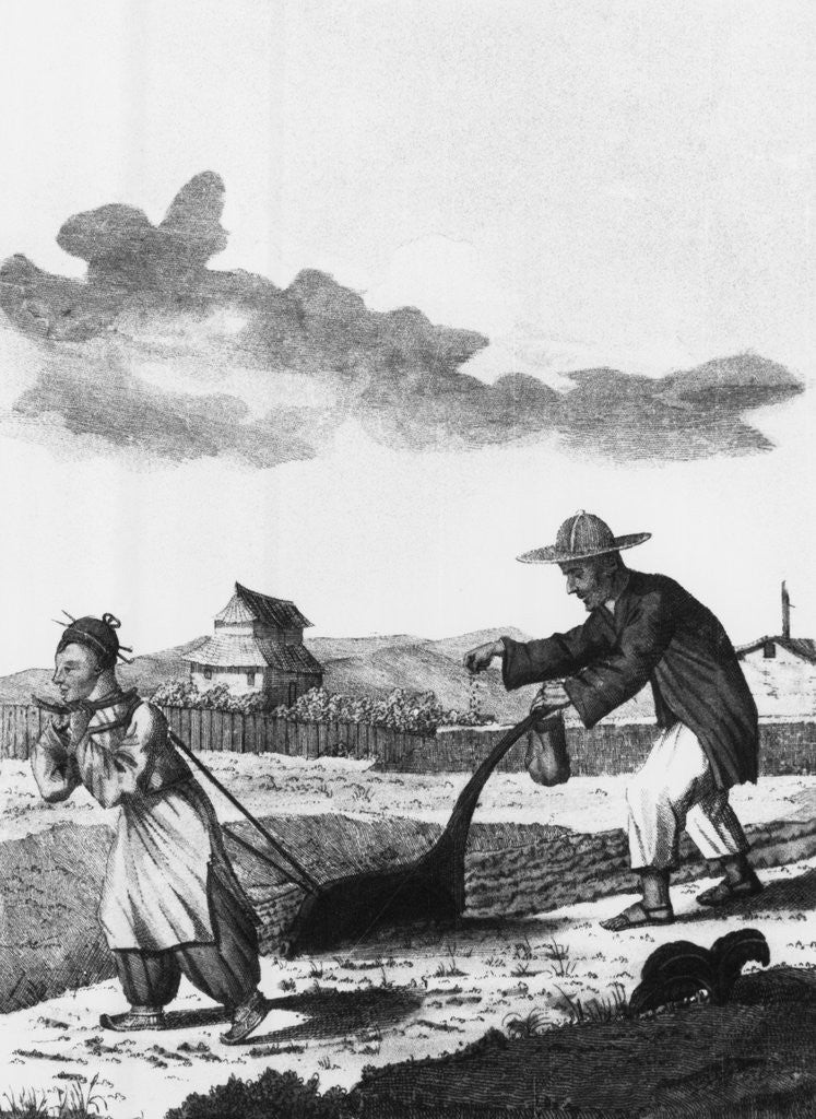 Detail of Chinese Peasants Plowing and Sowing by Corbis