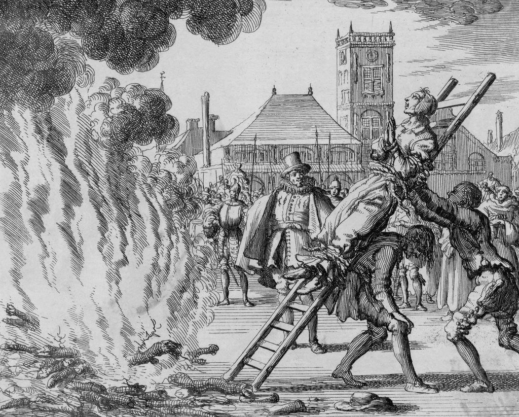 Detail of Anneken Hendriks Being Hoisted to the Fire by Jan Luyken