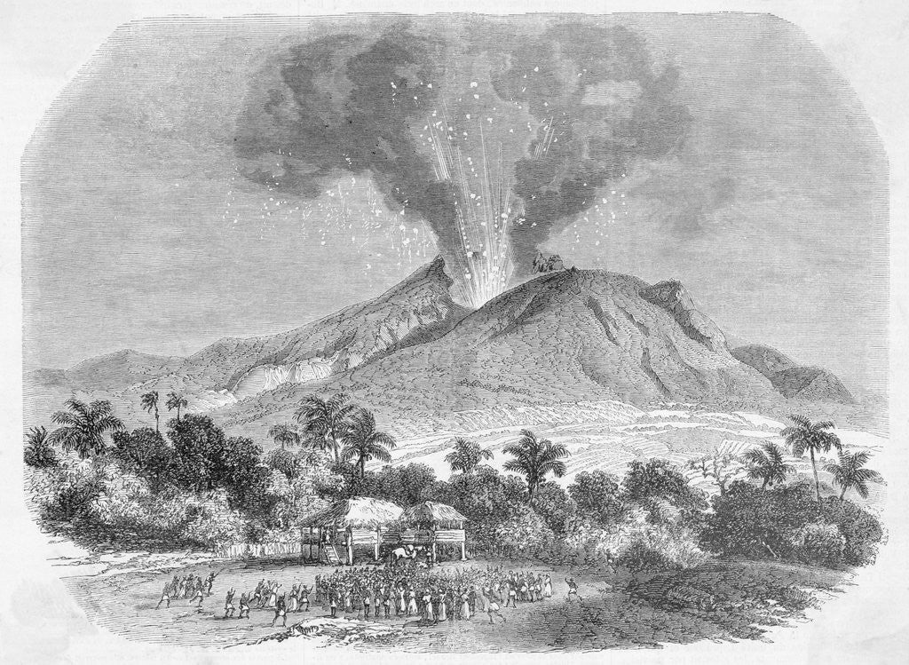 Detail of Eruption of Mount Pelee, in the Island of Martinique Engraving by Corbis
