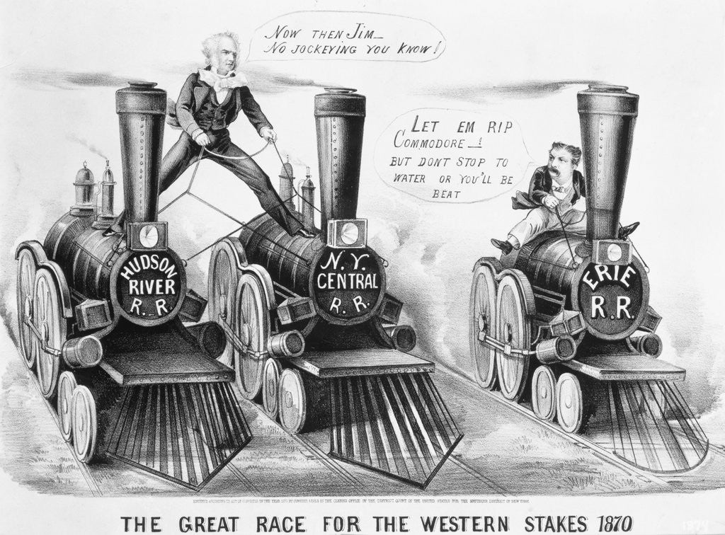 Detail of Cartoon- Owners Race Rr Engines by Corbis