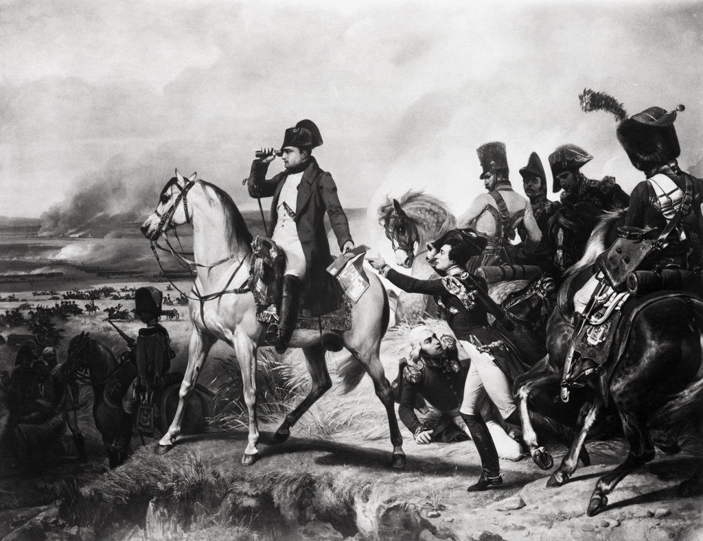 Detail of Napoleon with Soldiers on Battlefield by Corbis
