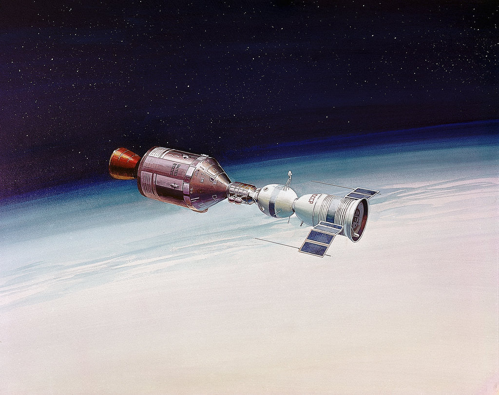 Detail of Artist's Concept of Joint Appolo-Soyuz by Corbis