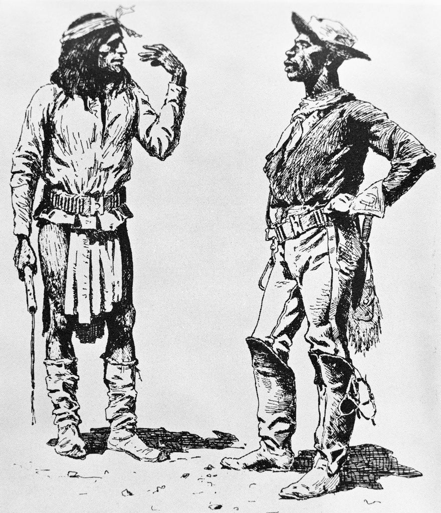 illustration of native american communicating in sign language to