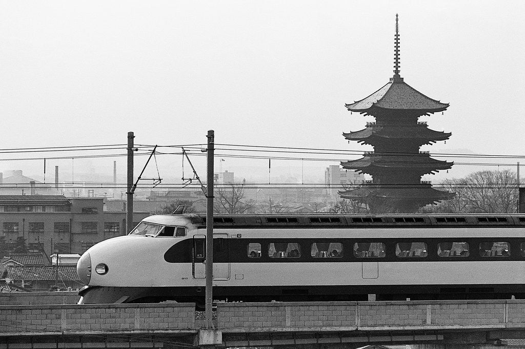 Detail of Bullet Train Running Past Pagodas by Corbis