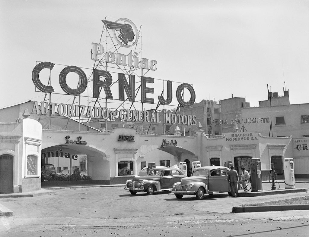 Detail of Authorized Pontiac Service Station in Mexico City by Corbis