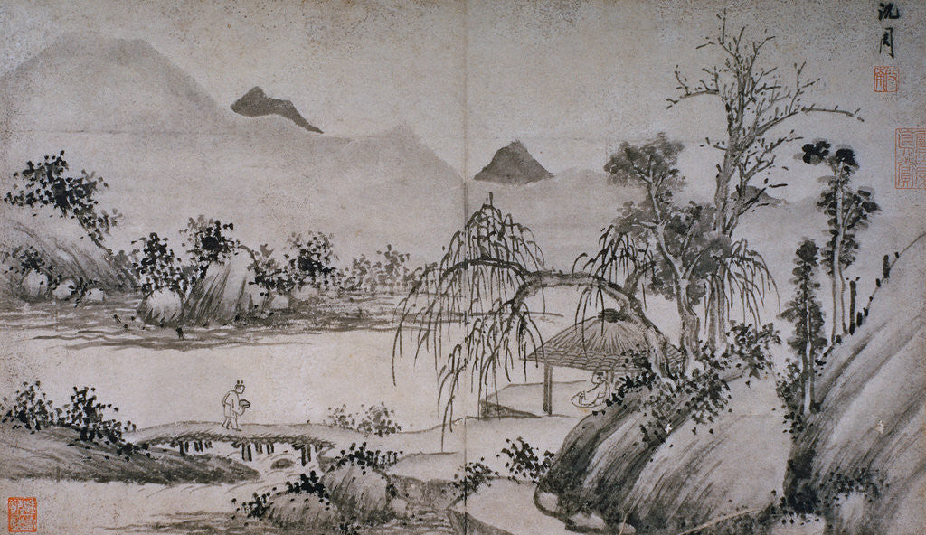 Detail of Figure Crossing a Bridge from Album of Eight Landscape Paintings by Shen Chou