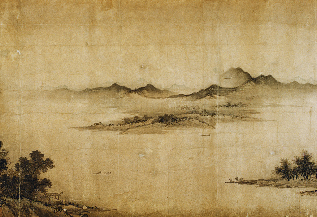 Detail of Detail Showing Mountains and Water from a Jin or Yuan Dynasty Painting entitled Clear Weather in the Valley, formerly attributed to Dong Yuan by Corbis