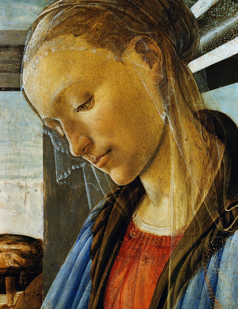 Detail of Detail of Mary from Madonna of the Eucharist by Botticelli