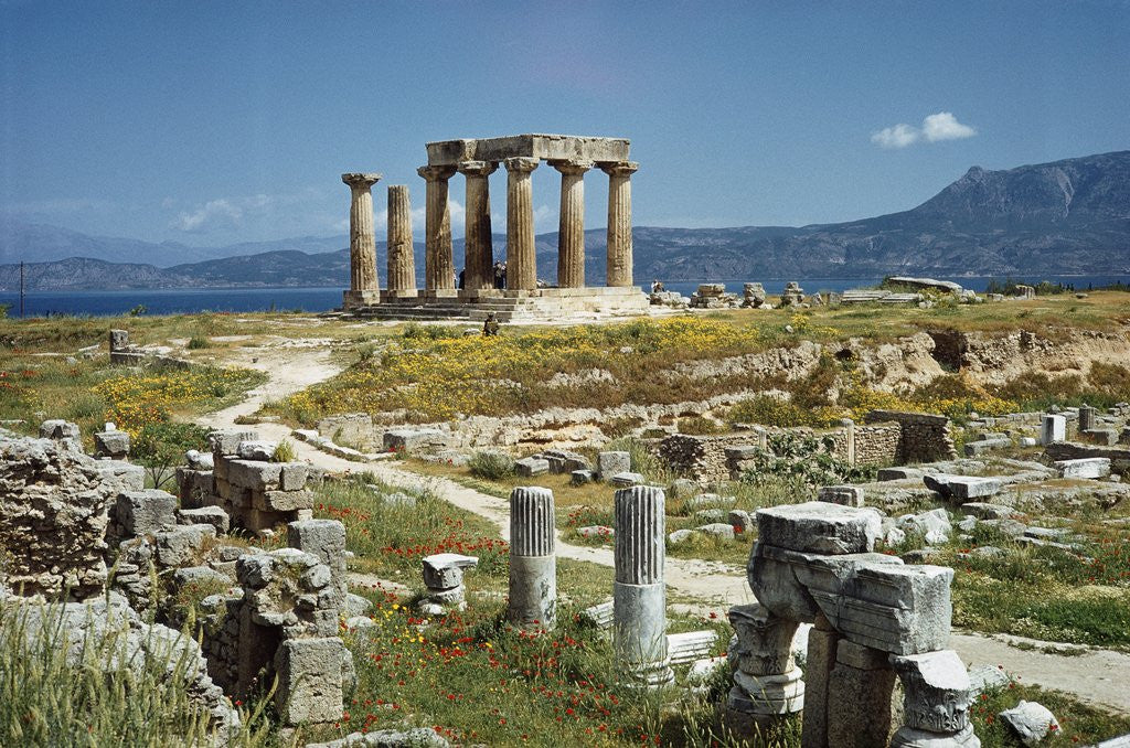 Detail of Distant View of the Temple of Apollo at Corinth by Corbis