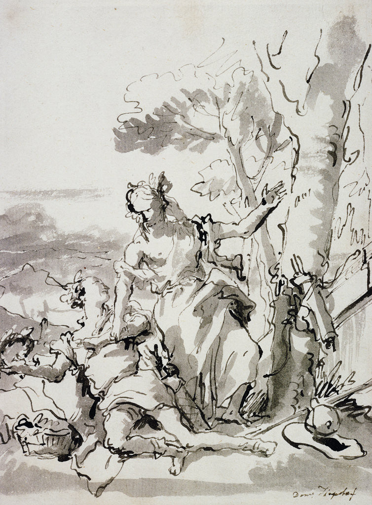 Detail of Angelica and Medoro by Domenico Tiepolo