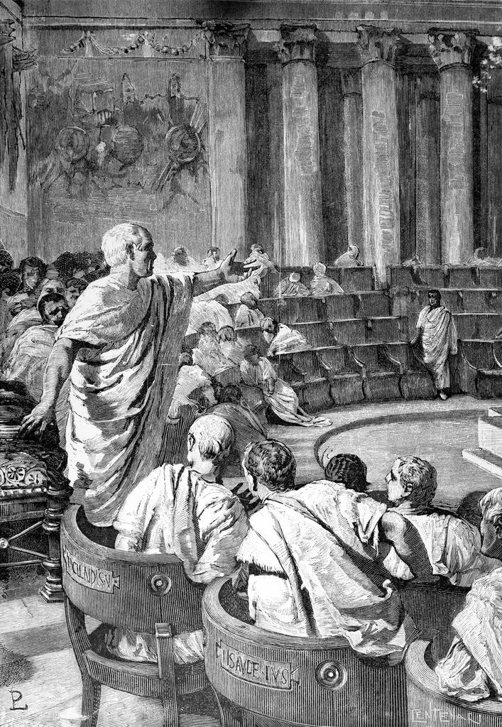 Detail of Illustration of Cicero Addressing Catiline in the Roman Senate by Corbis