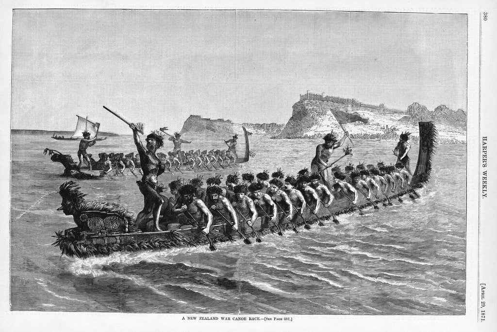 A New Zealand War Canoe Race Illustration by Corbis