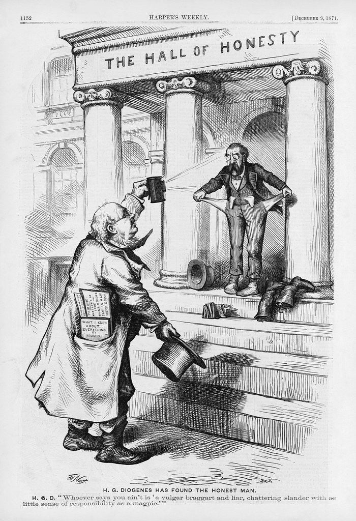 Detail of H.G. Diogenes Has Found the Honest Man Political Cartoon for Harper's Weekly by Thomas Nast