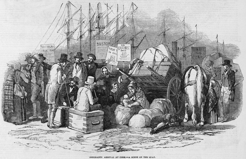 Detail of Emigrants Arrival at Cork Illustration by Corbis
