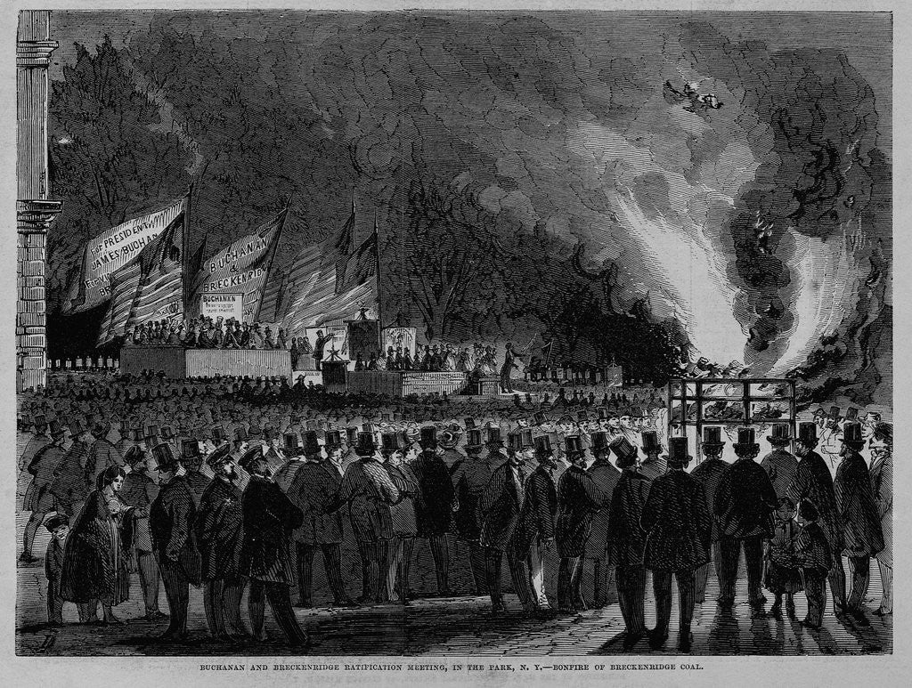 Detail of Buchanan and Breckenrige Ratification Meeting, in the Park, N. Y., Bonfire of Breckenrige Coal by Corbis