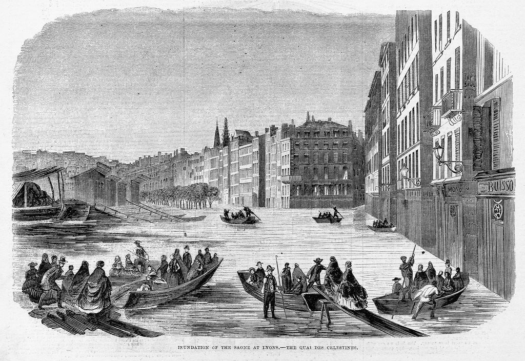 Detail of A Street of Lyons During the Inundation by Corbis