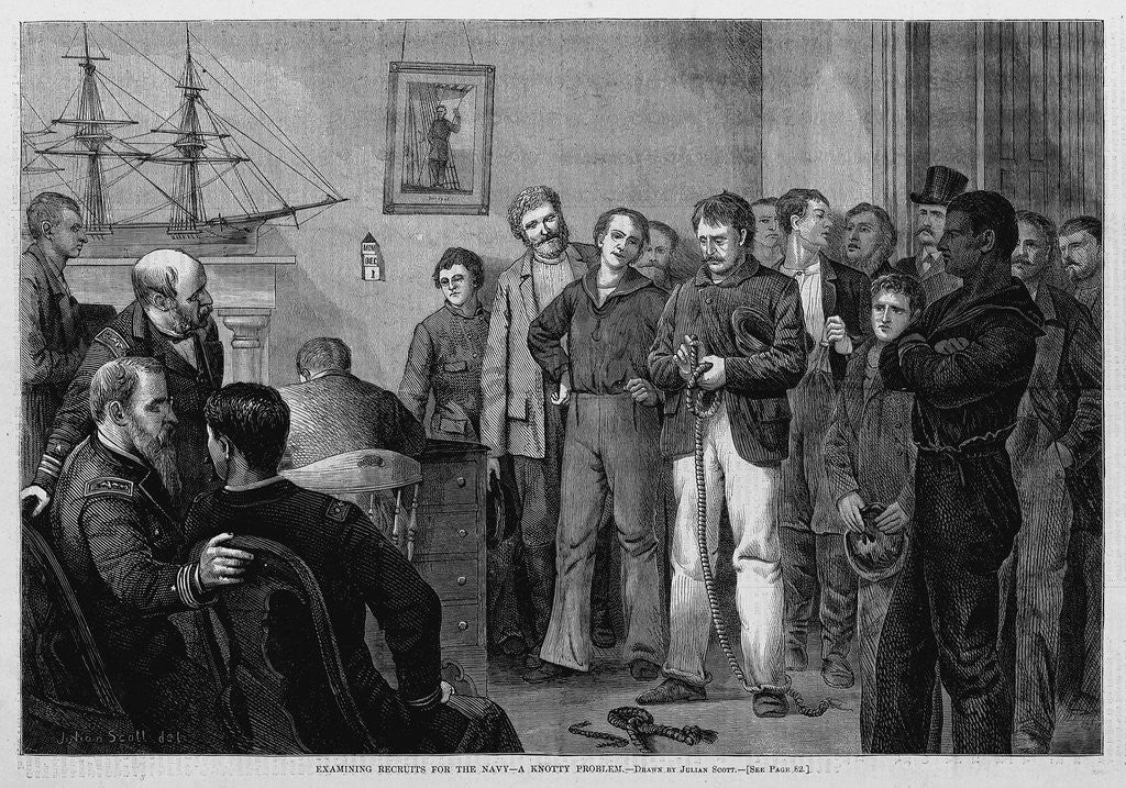 Detail of Examining Recruits for the Navy-A Knotty Problem by Corbis