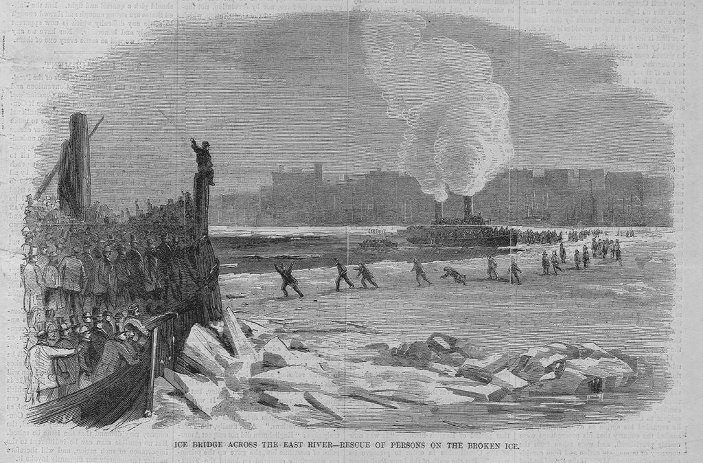 Detail of Ice bridge across the east river - rescue of persons on the broken ice by Corbis