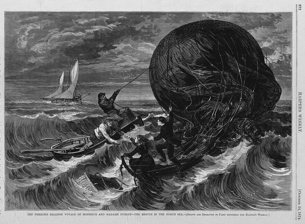 Detail of The Perilous Baloon Voyage of Monsieur and Madame Durouf-The Rescue in the North Sea by Corbis