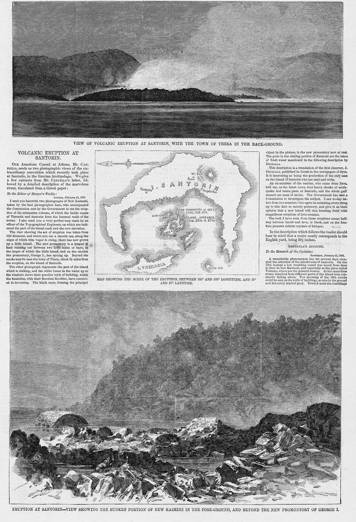 Detail of Magazine Illustrations of the Eruption at Santorin Published in Harper's Weekly by Corbis