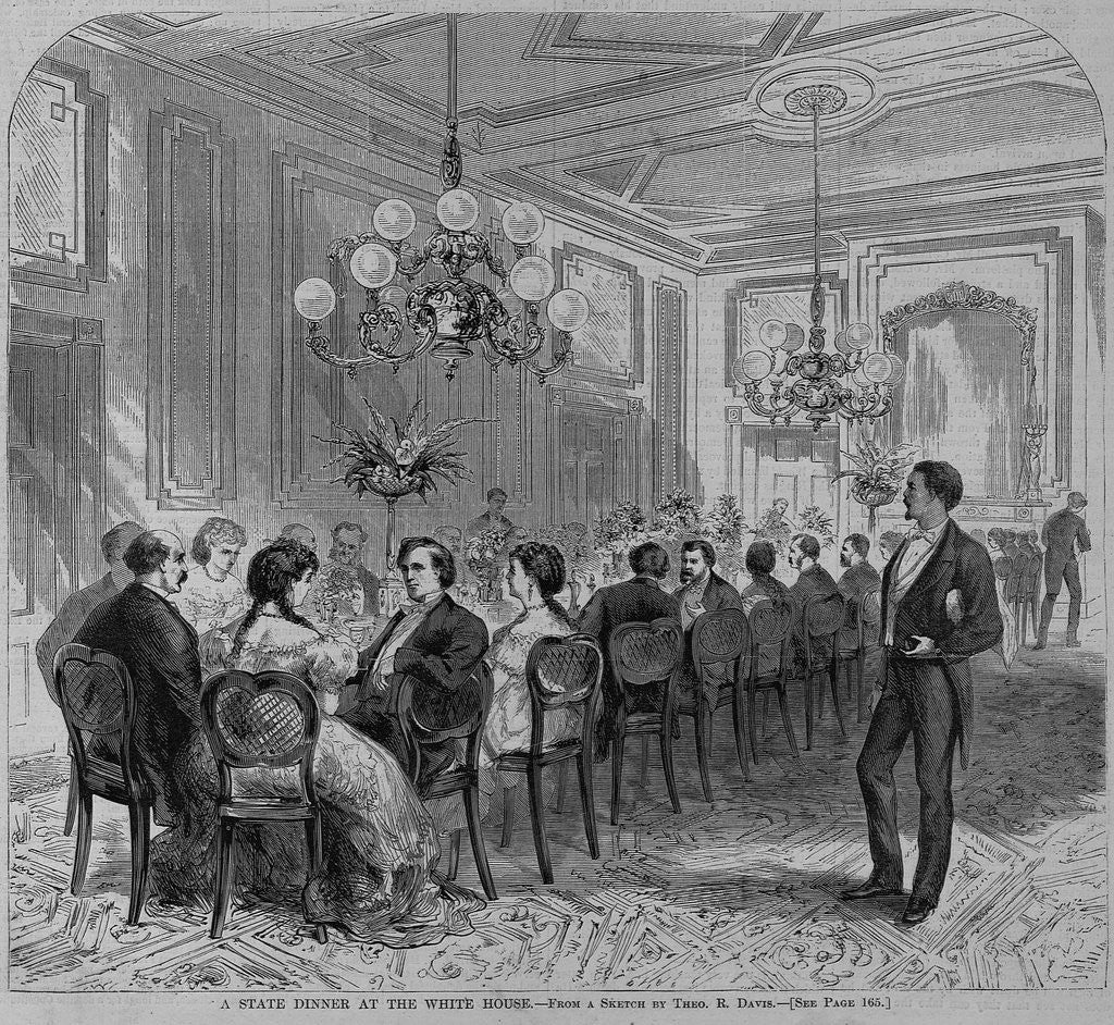 Detail of A state dinner at the white house. From a sketch by Theo. R. Davis by Corbis