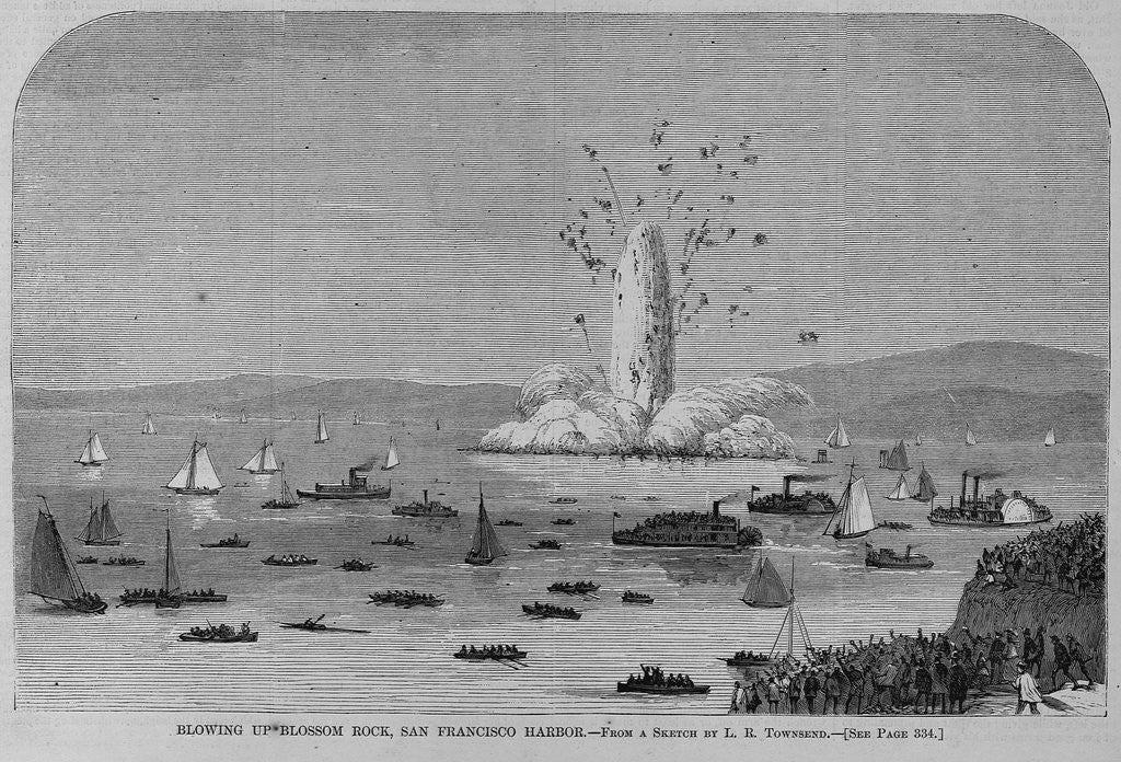 Detail of Blowling up Blossom Rock, San Francisco Harbor. From a sketch by L. R. Townsend by Corbis