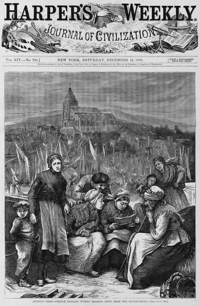 Detail of Anxious times - french peasant women reading news from the battle-field by Corbis